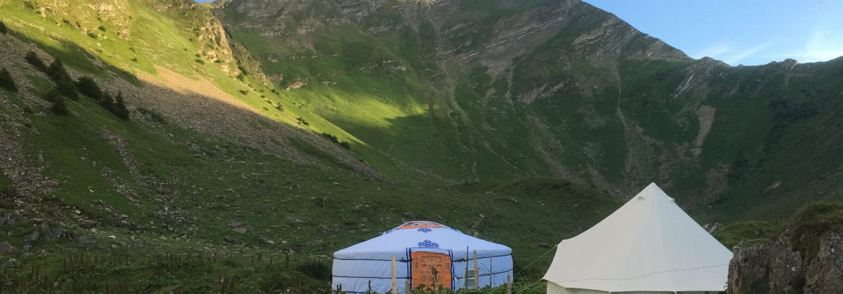 Groovy Yurt set up in beautiful swiss mountains