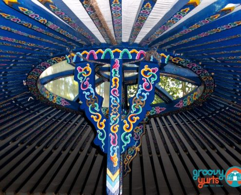 ceiling of a yurt with a blue colour