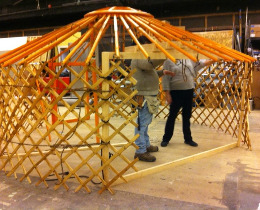lattice structure being constructed for a yurt