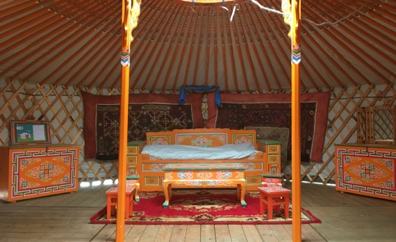 Inside a GroovyYurt Yurt with beautiful authentic mongolian furniture
