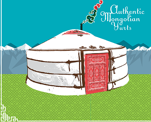 authentic mongolian yurts animated graphic of a yurt