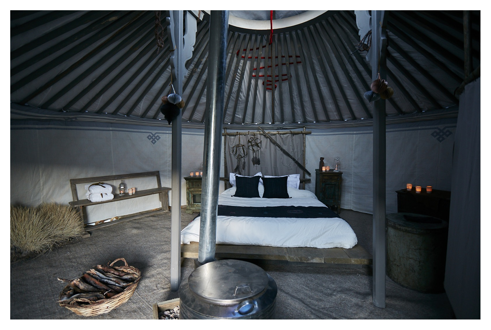 bedroom in a yurt