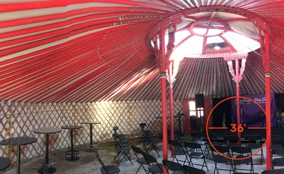 inside 36 foot diameter Groovy Yurt for event