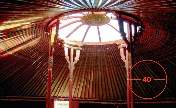 inside 40 foot diameter groovy yurt for event