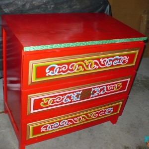 Traditional Mongolian Red Chest with drawers for sale