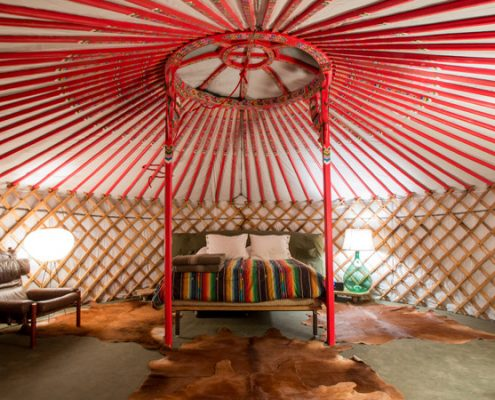 bed in a groovy yurt