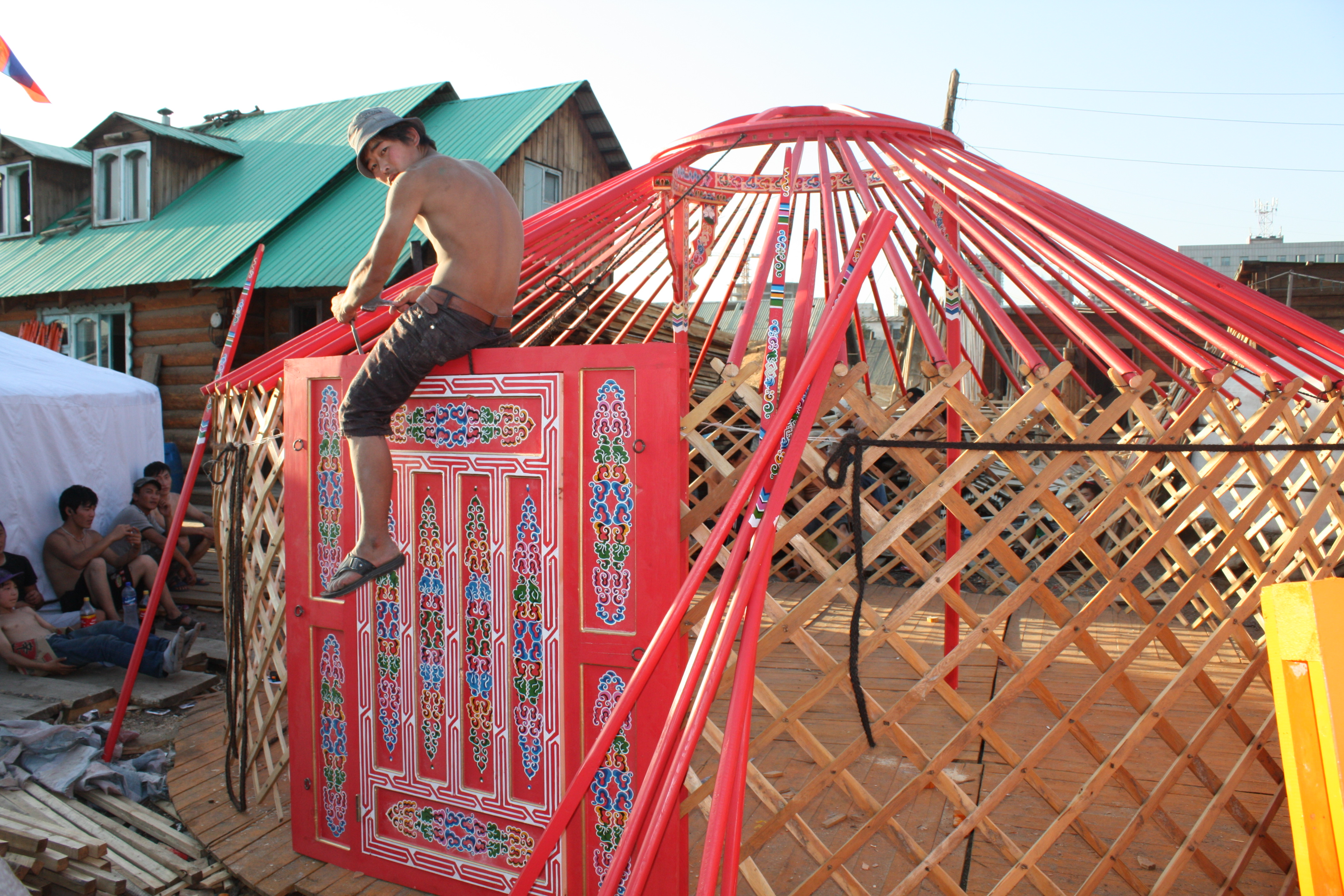 assembling a super yurt with beautiful mongolian door