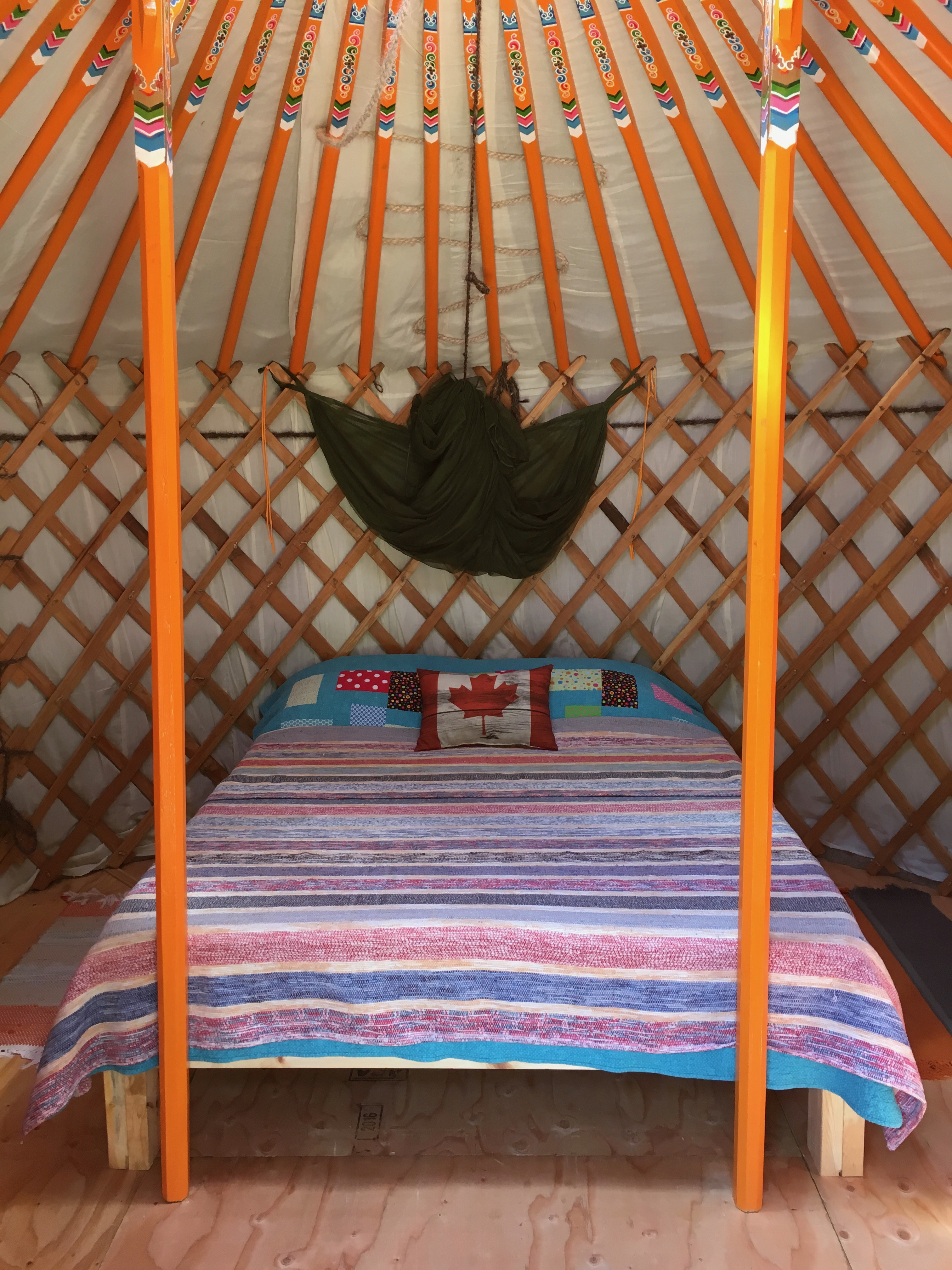 Bedroom inside a yurt