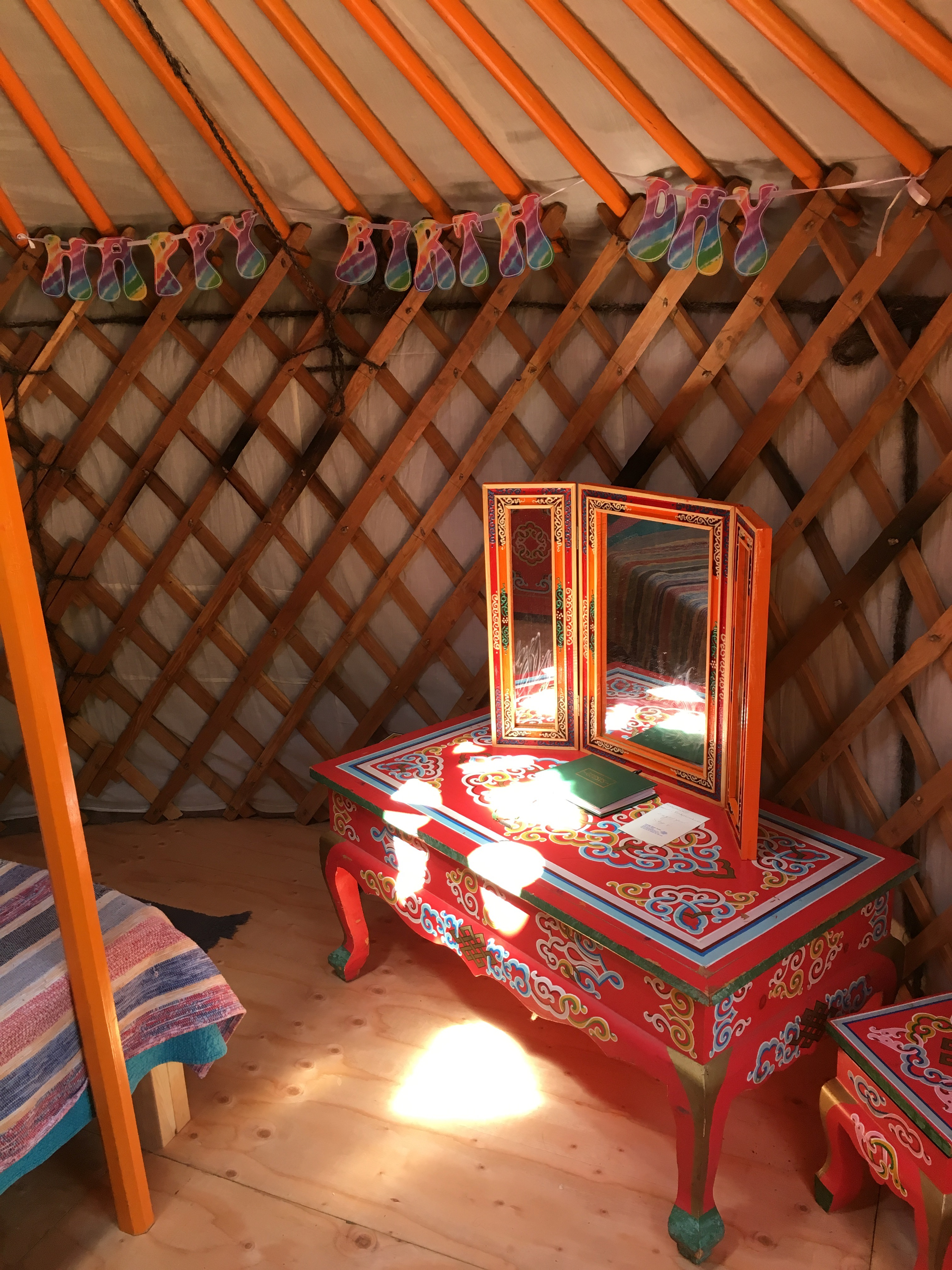 Yurt furniture in a yurt