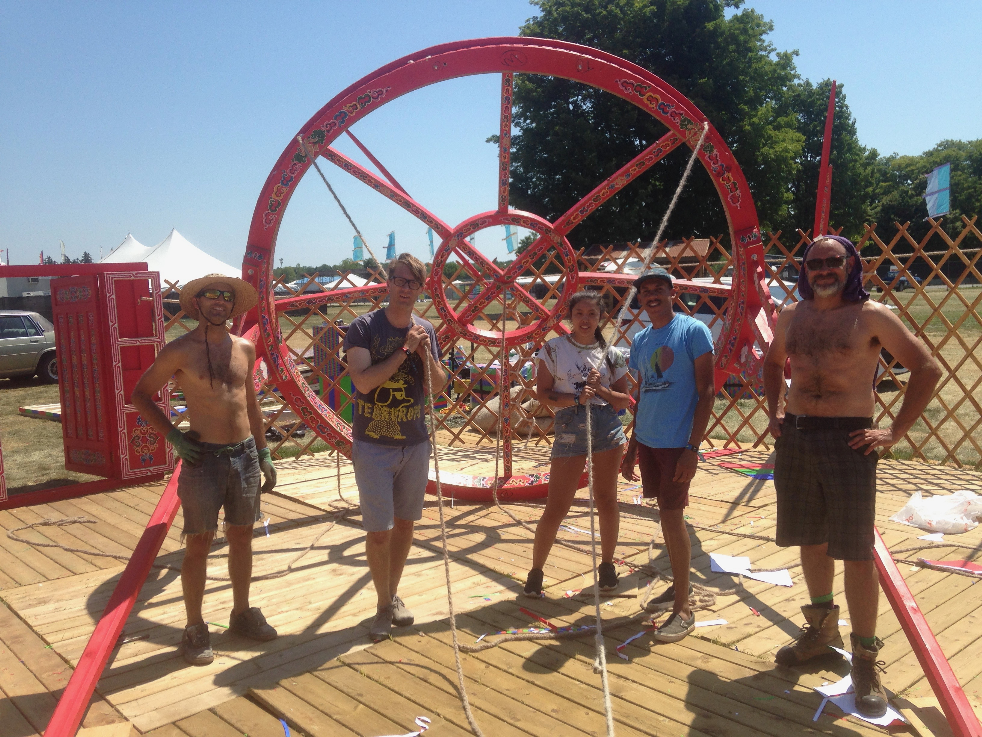 Setting up a large Yurt at a festival