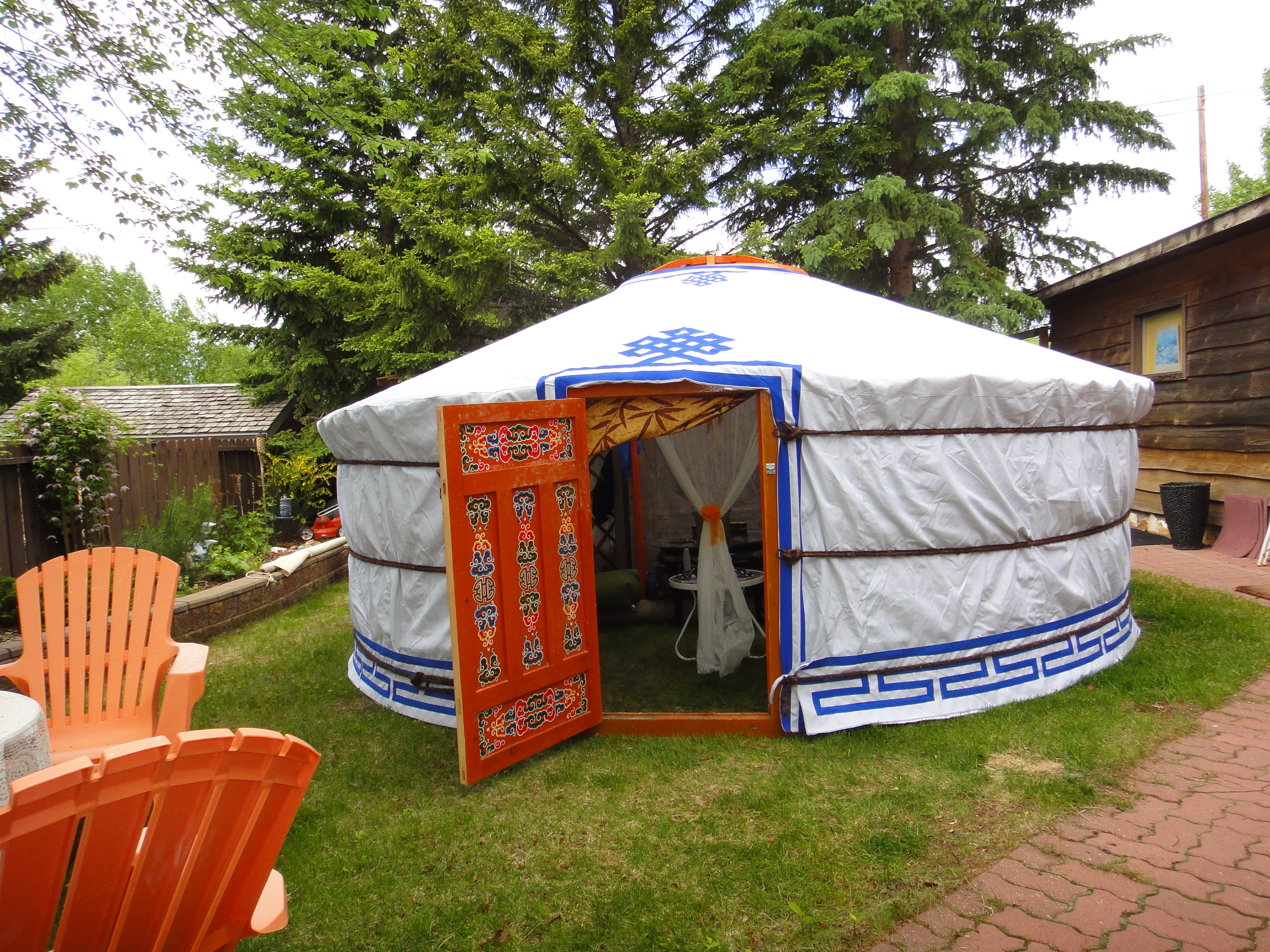 Yurt in a backyard at cottage