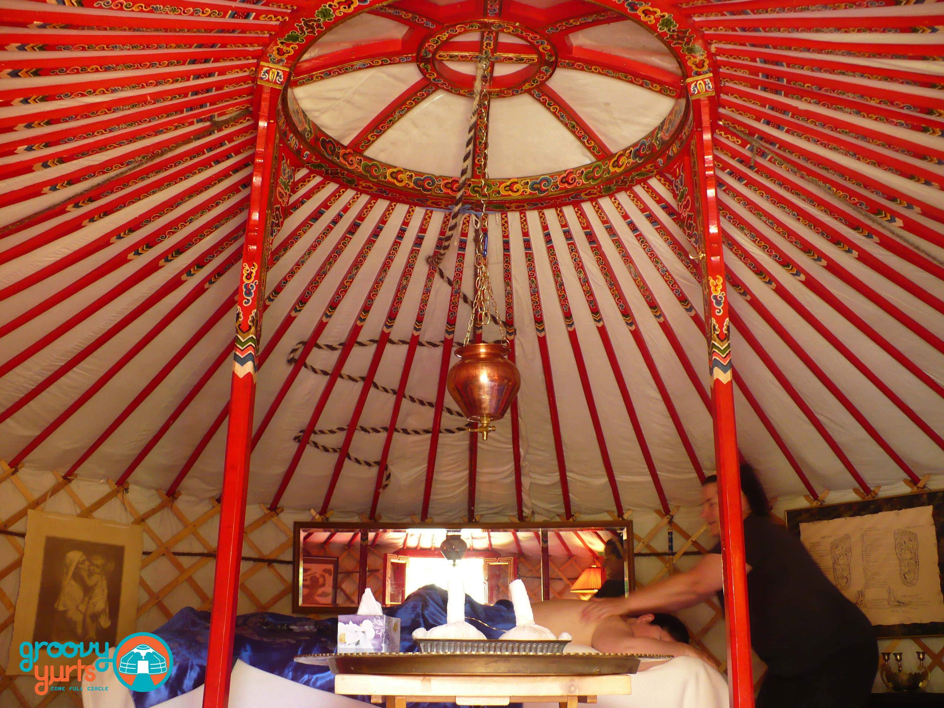 getting a massage in Mongolian Yurt