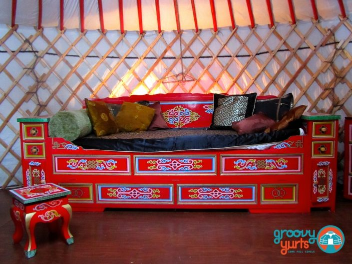 authentic mongolian couch made for a yurt