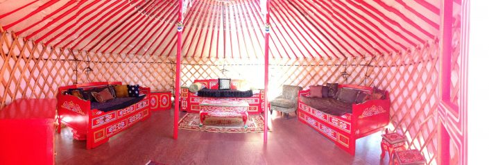 a super ger yurt with mongolian furniture