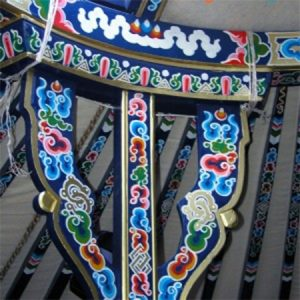 Hand-painted blue Mongolian bagaan for Groovy Yurts