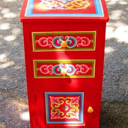 Ornate Mongolian bedside table for sale Groovy Yurts