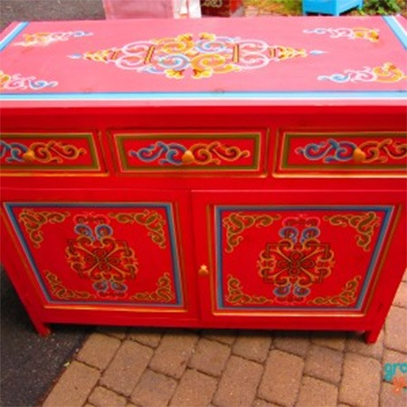 Red two door buffet for sale Groovy Yurts