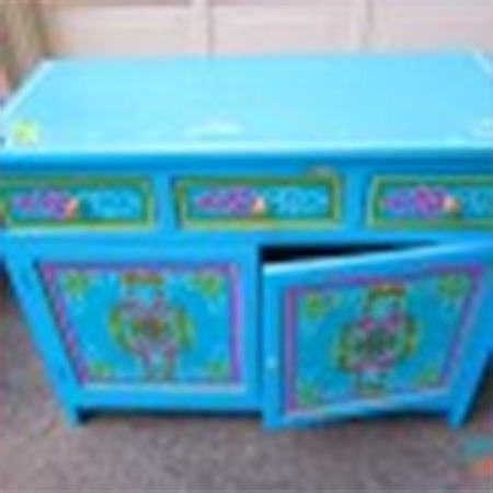 Blue two door buffet for sale Groovy Yurts