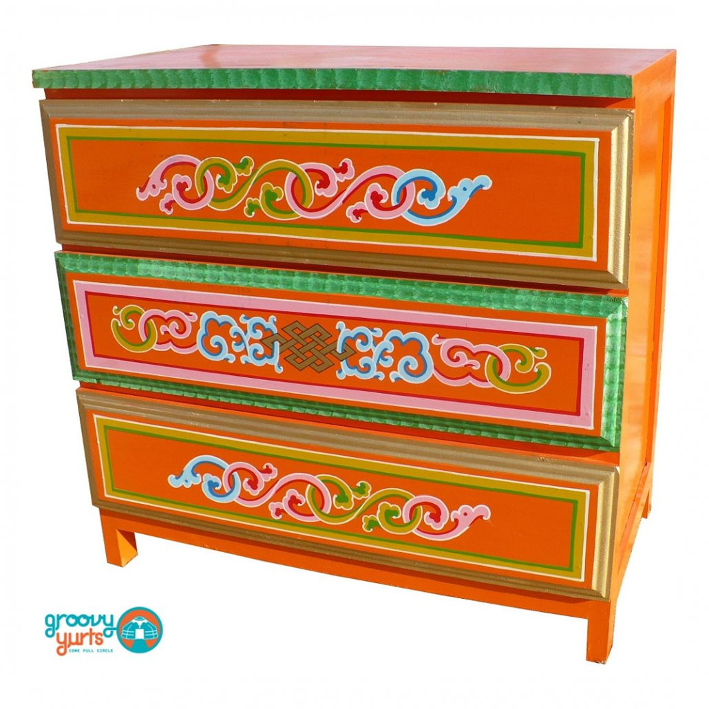 Handmade Mongolian Chest with drawers for sale Groovy Yurts