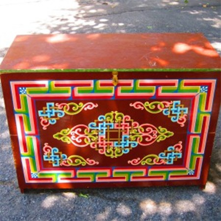 Red traditional Mongolian chest for sale Groovy Yurts