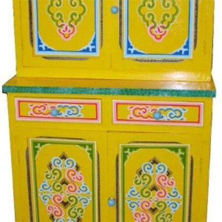 Traditional decorated Mongolian cupboard with drawers for sale Groovy Yurts