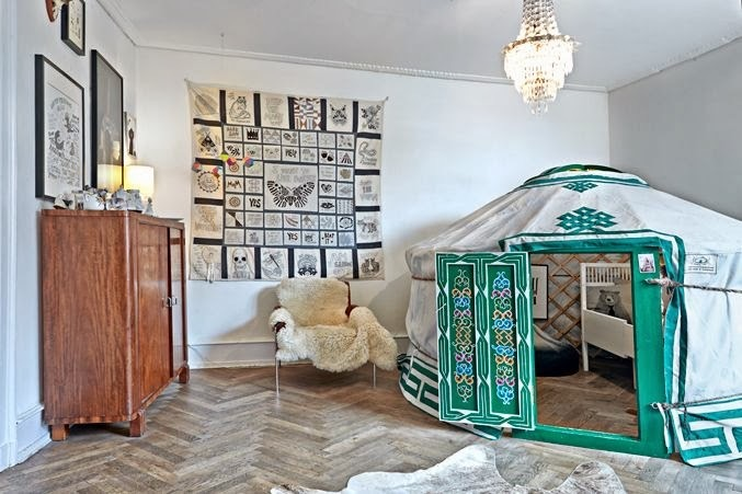 small yurt inside a childs room