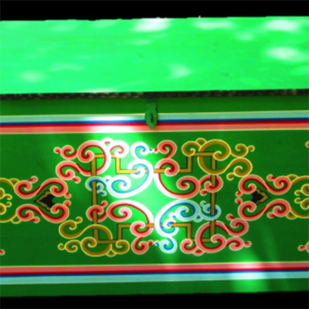 Long green Mongolian made chest for sale Groovy Yurts