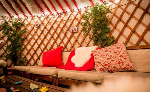 interior of a yurt with a great living space