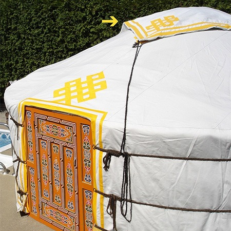 Regular yellow and white urgh top cover groovy yurts