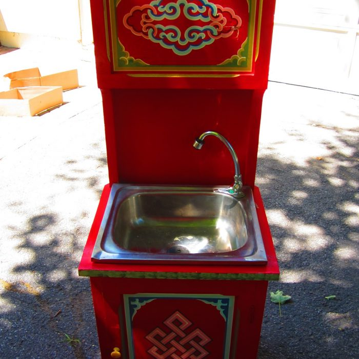 Red Mongolian Sink Dresser for Groovy Yurts for sale