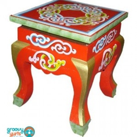 Red curved legged stool for sale Groovy Yurts