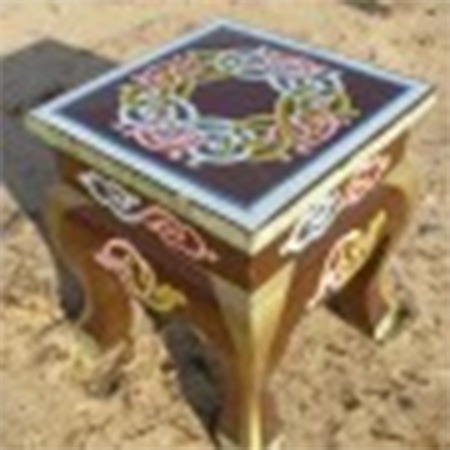 Curved legged Mongolian ornate stool for sale Groovy Yurts