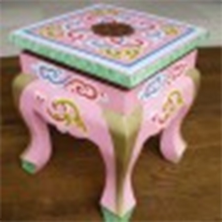 Curved legged Mongolian stool for sale Groovy Yurts