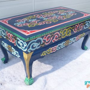 Blue curved legged table for sale groovy yurts