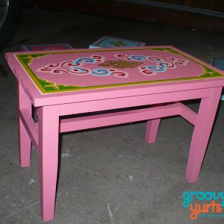 Mongolian Pink straight legged table for sale Groovy Yurts