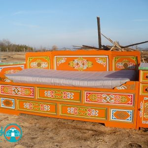 Traditional Mongolian bed with storage for sale