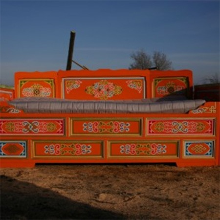 Traditional Mongolian bed with drawers for sale Groovy Yurts