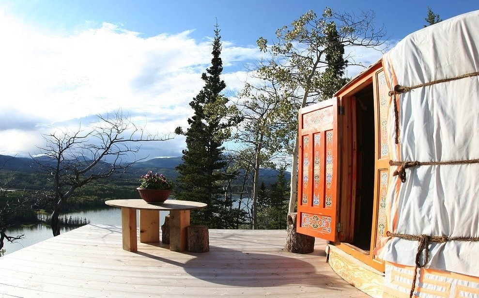 Yurt with a deck and a stunning view