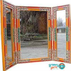 One of a kind Mongolian made tryptic mirror for sale