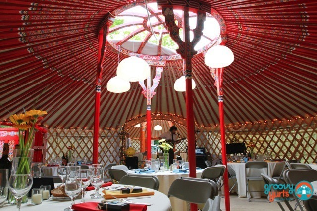 two large yurts connected for a wedding