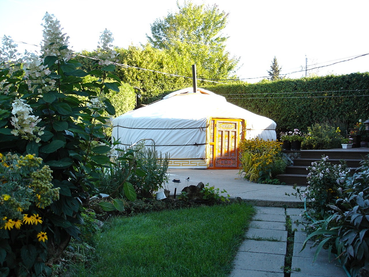 yurt in backyard