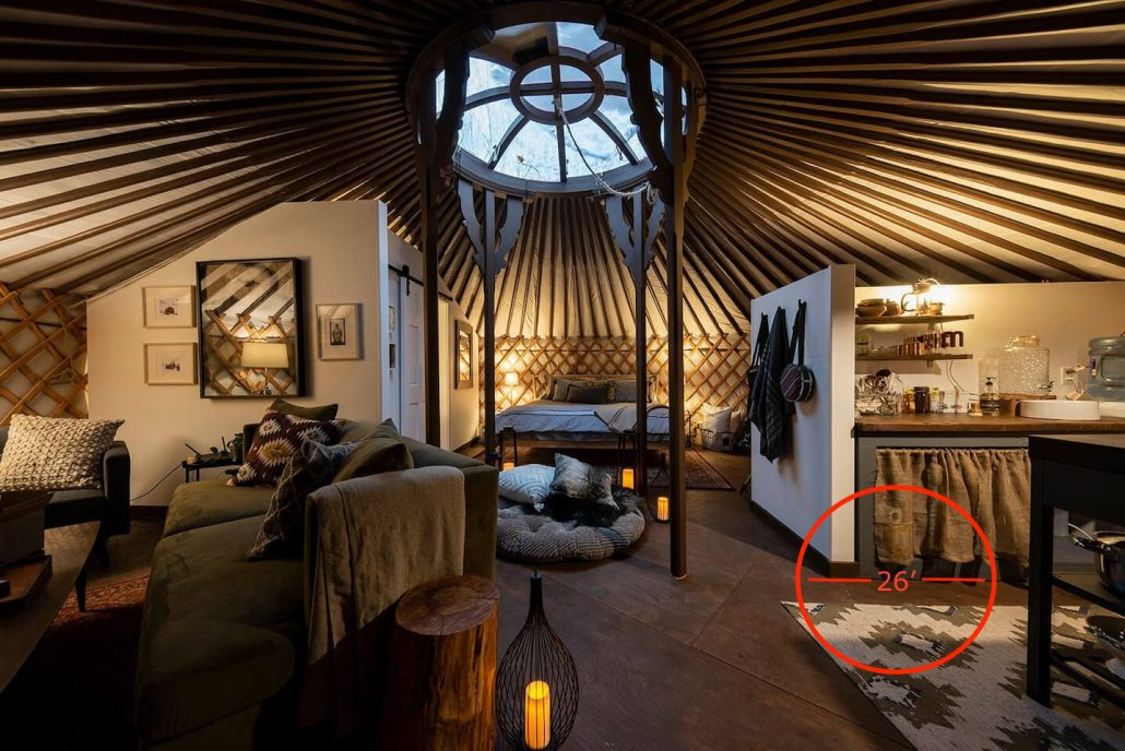 7-wall groovy yurt outfitted for long-term stays