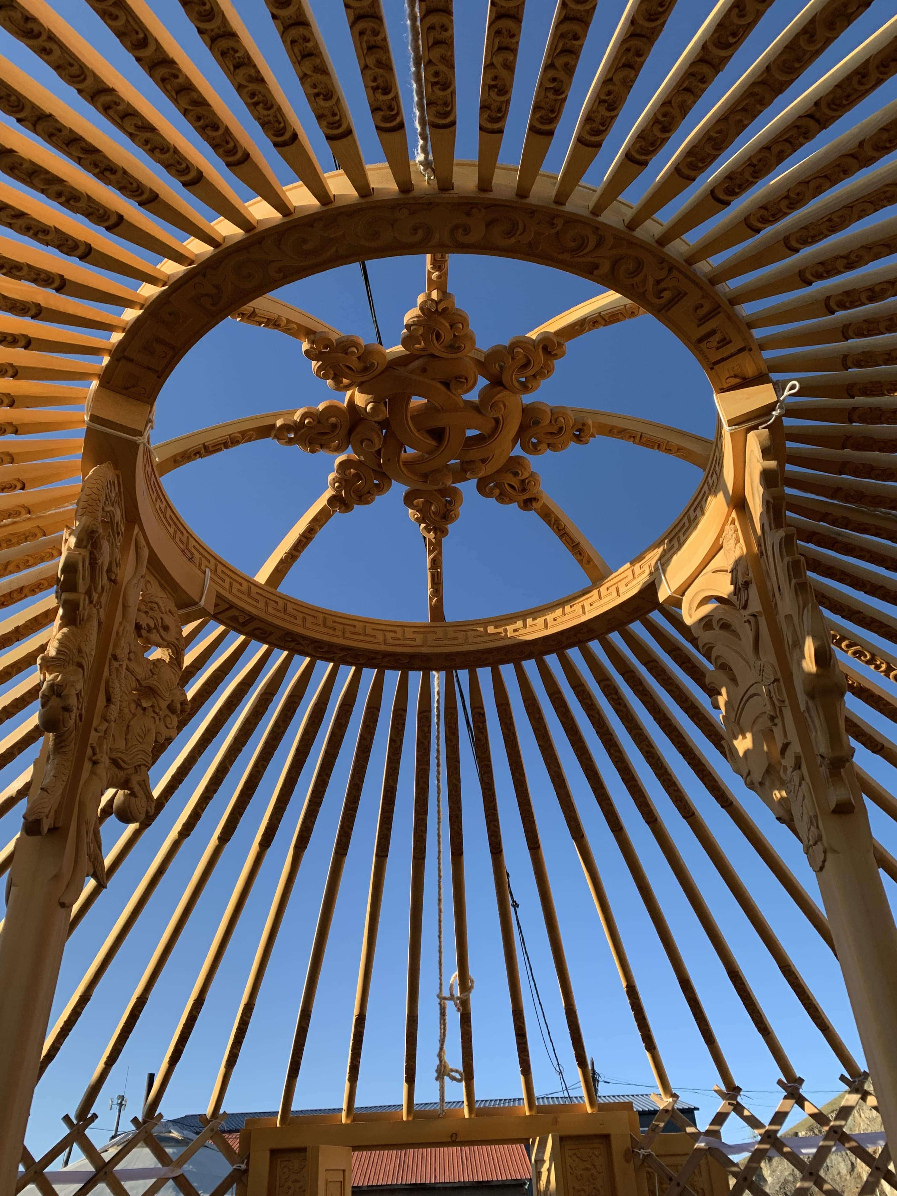 A beautiful and intricate roof in a Yurt