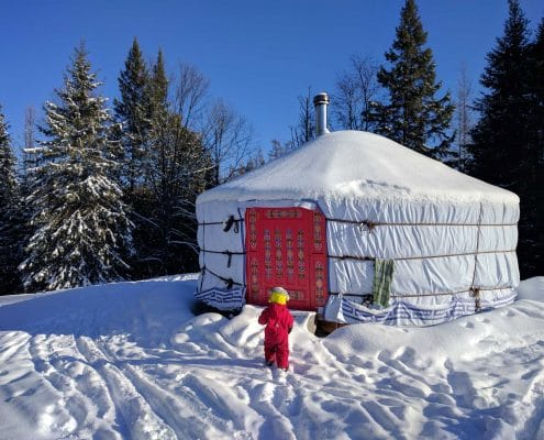 yurt on snow in wintertime in canada