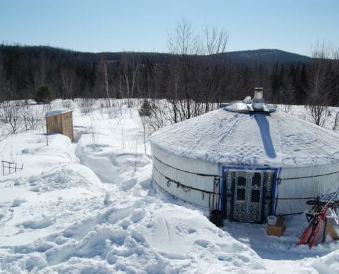 Mongolian yurt in Canadian winter