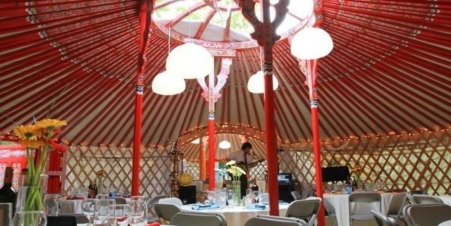 yurt interior set up for party