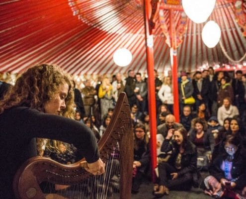 music event in rented yurt