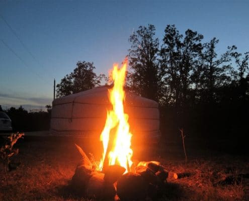 fire and yurt from groovy yurts