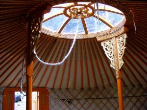 fully finished and painted hand carved yurt