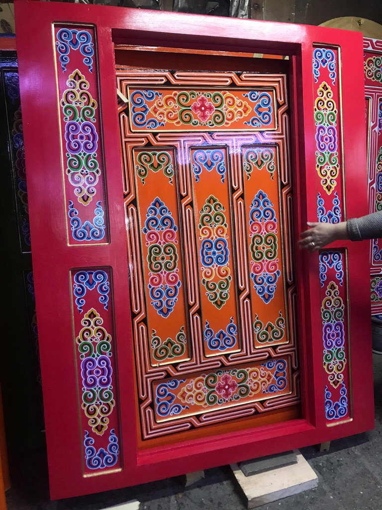 painted red part of a mongolian yurt